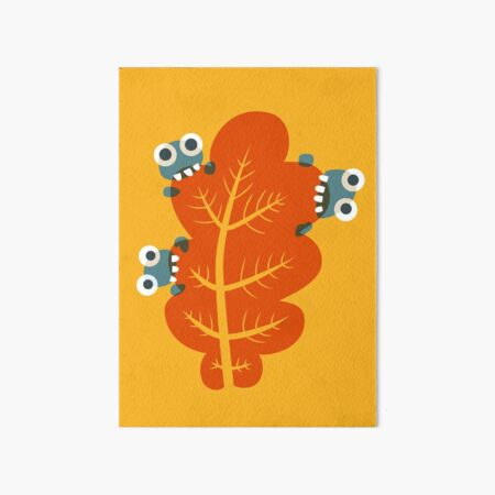 Cute Bugs Eating Autumn Leaves Art Board Print