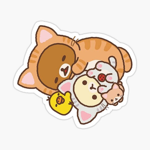 rilakkuma and friends sleeping cat costumes Sticker