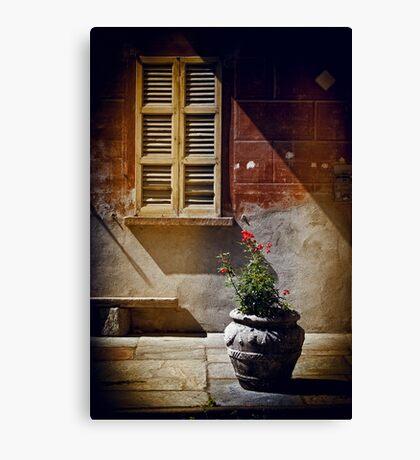 Vase, window and shadows Canvas Print