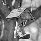 Redneck Cowboy Boot Birdhouse B&W by Bo Insogna