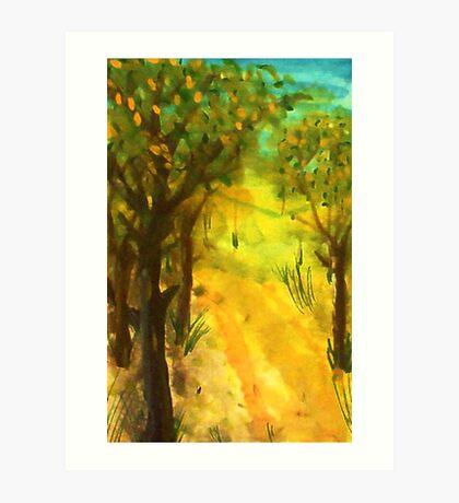 Tree path in the sun, watercolor Art Print