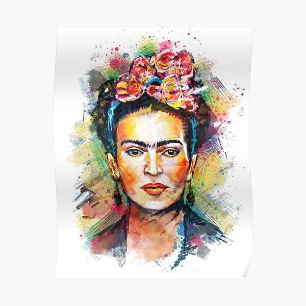 Portrait coloré de Frida Kahlo Poster