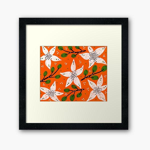 Orange bloom and willow Framed Art Print