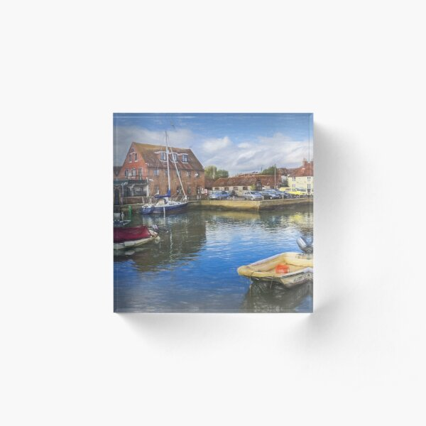Boats At Emsworth Harbour Acrylic Block