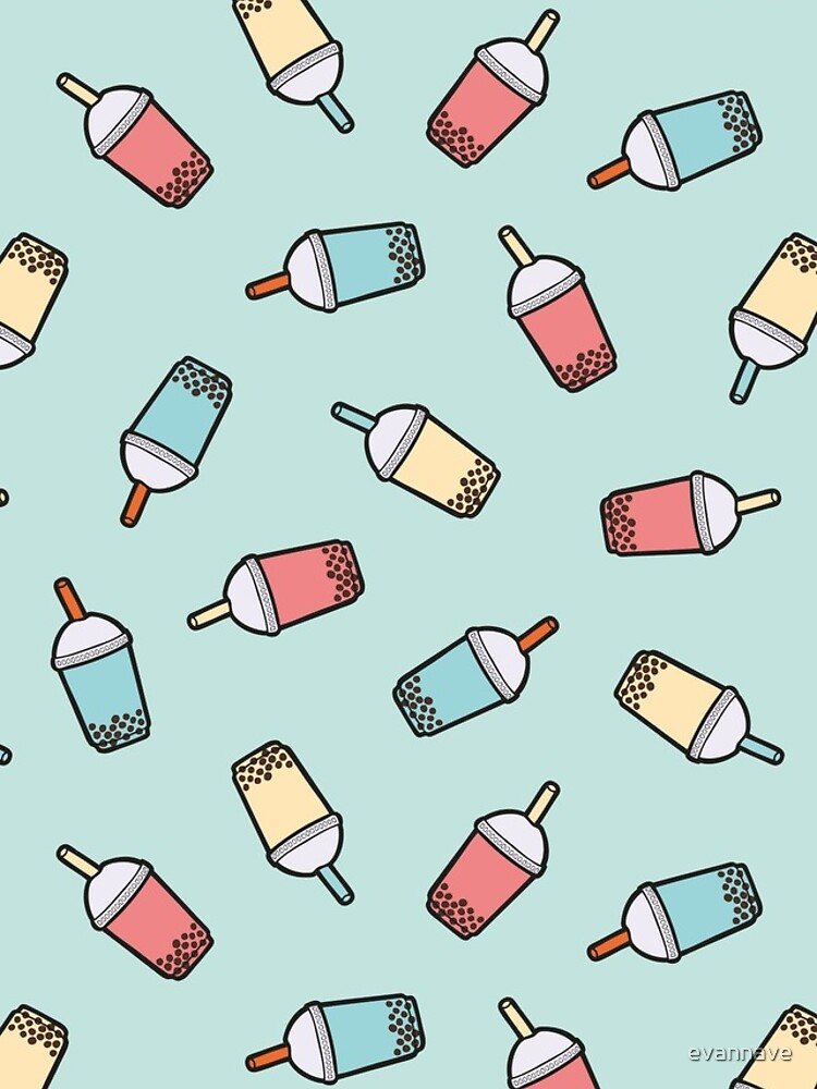 Bubble Tea Pattern in Mint  by evannave