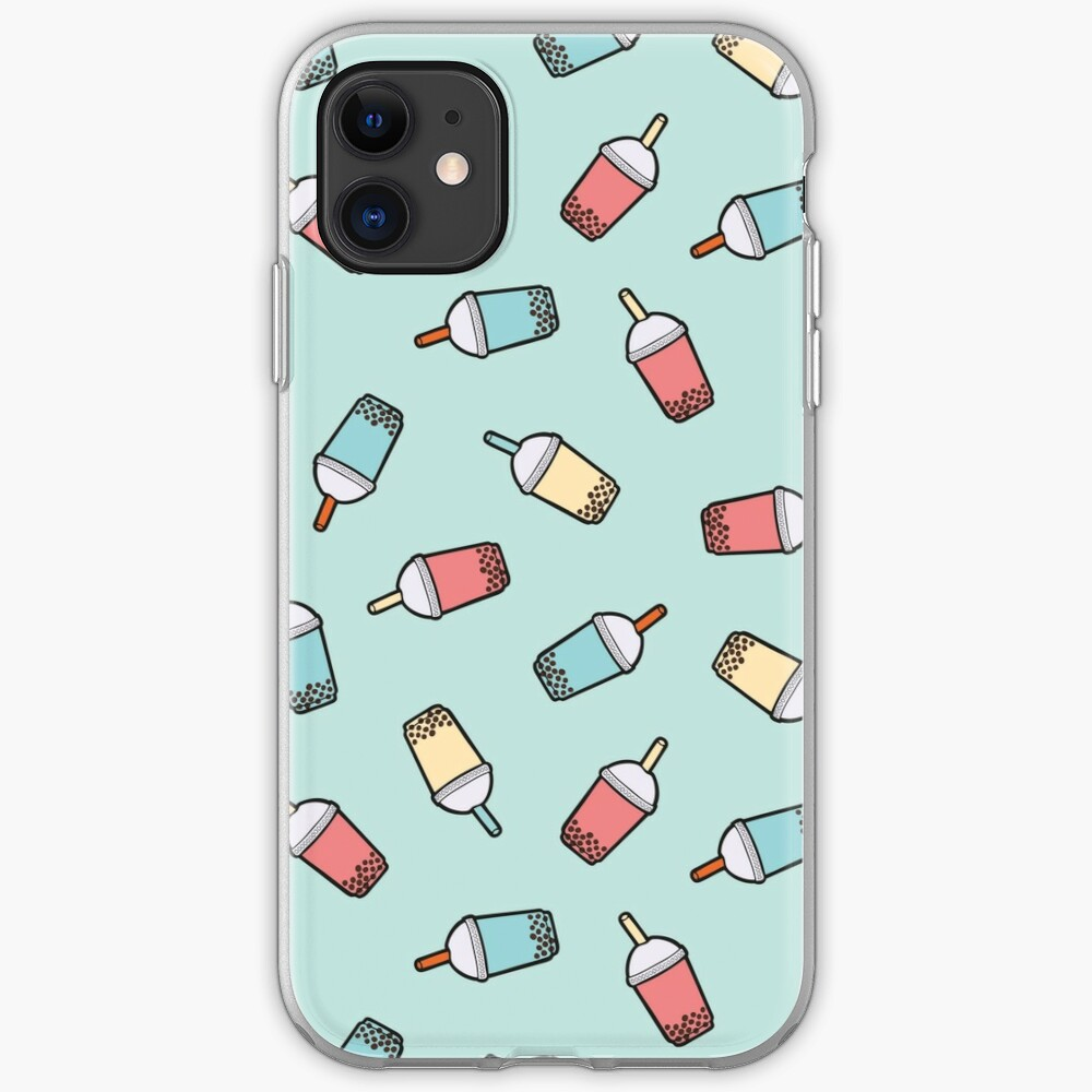 Bubble Tea Pattern in Mint  iPhone Case & Cover