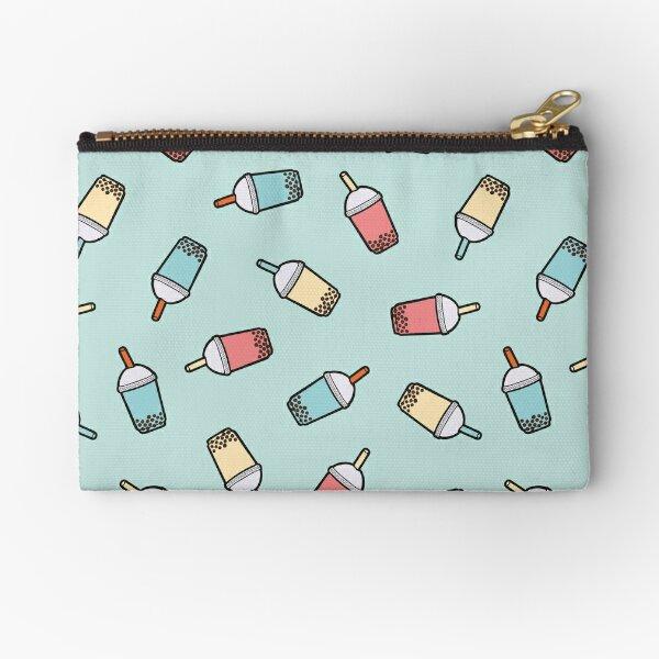 Bubble Tea Pattern in Mint  Zipper Pouch