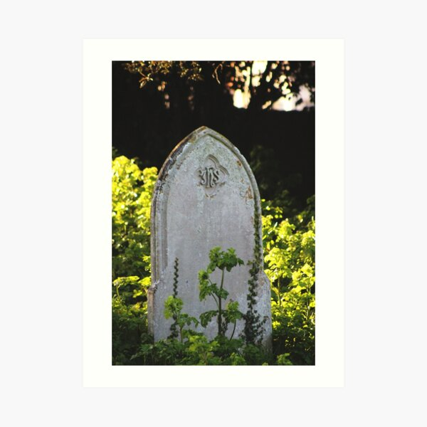 Gravestone surrounded by wildflowers Art Print