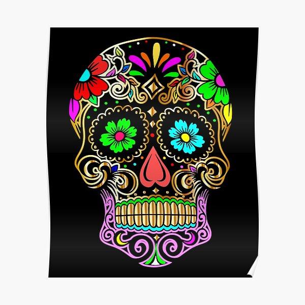 Skulls with flowers, Sugar Skull Poster