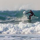 Surfing at Porthtowan Cornwall by Brian Roscorla