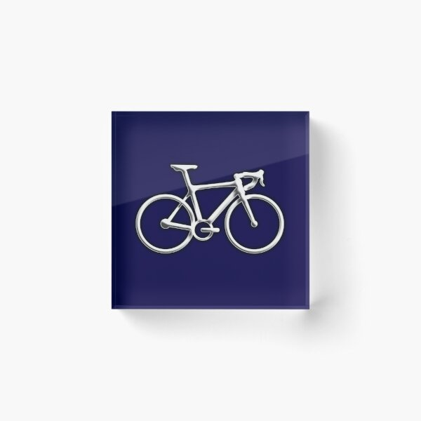 Racing Bike. Bicycle, Bevel, Road bike, Push Bike, on Navy. Acrylic Block
