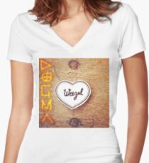 Shirt design for Dogma release by Weezal Women's Fitted V-Neck T-Shirt