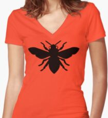 Bee Silhouette Women's Fitted V-Neck T-Shirt