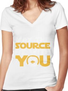 May The Source Be With You - Tux Edition Women's Fitted V-Neck T-Shirt