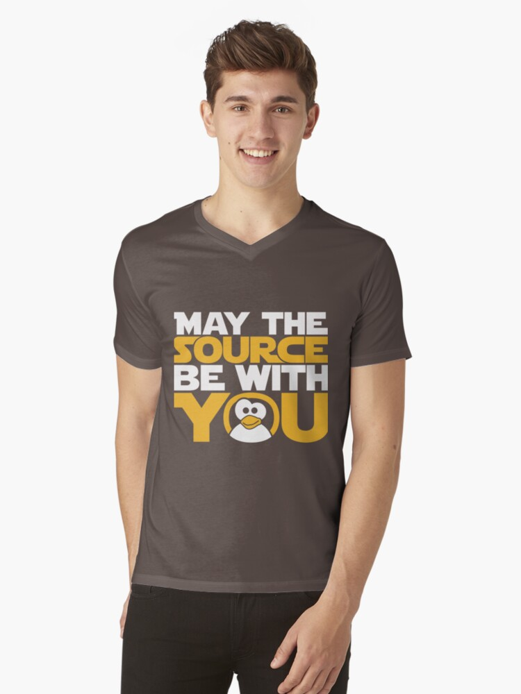 May The Source Be With You - Tux Edition Mens V-Neck T-Shirt Front