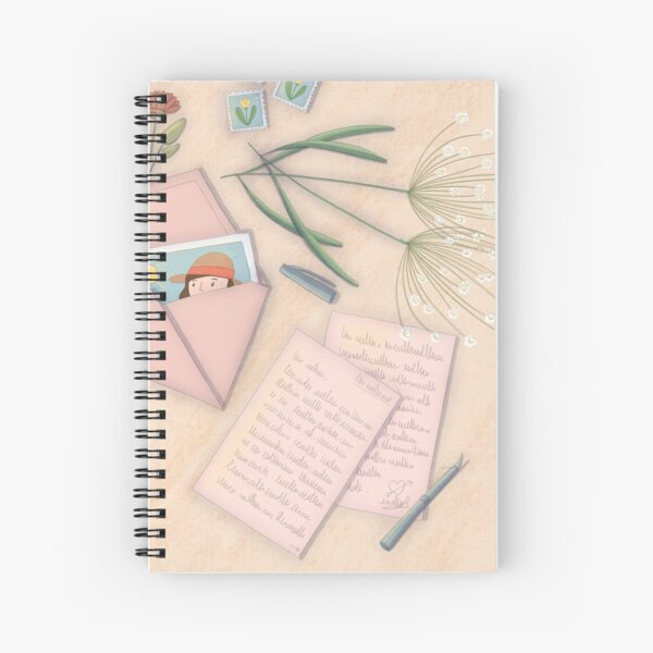 Desktop writing letters with flowers Spiral Notebook