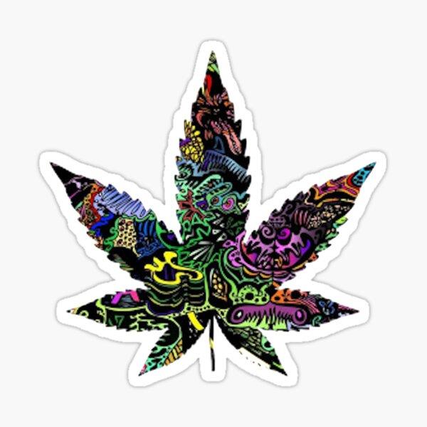Pot Leaf Design Ganja Trippy Weed Sticker Sticker