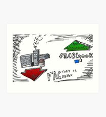 FACtory vs FACebook binary options cartoon Art Print