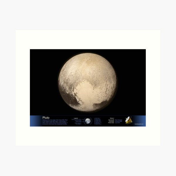 Pluto - with Annotated Legend Art Print
