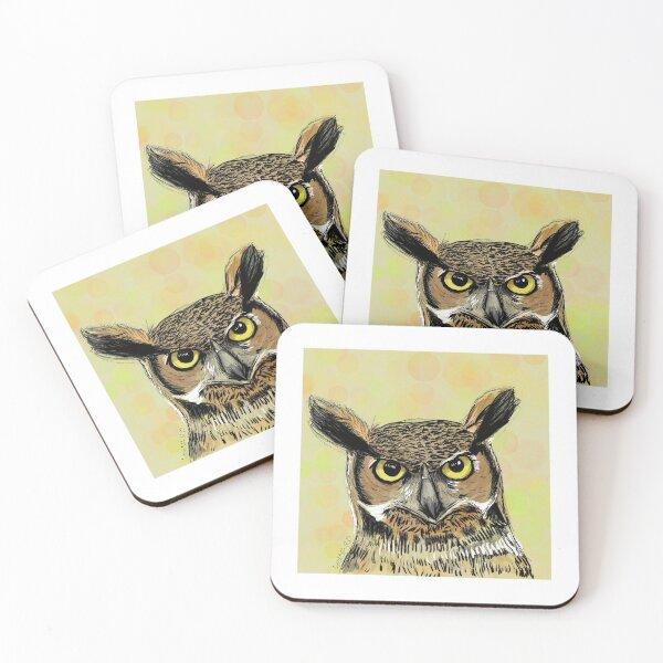 Owl Digital Art Coasters (Set of 4)