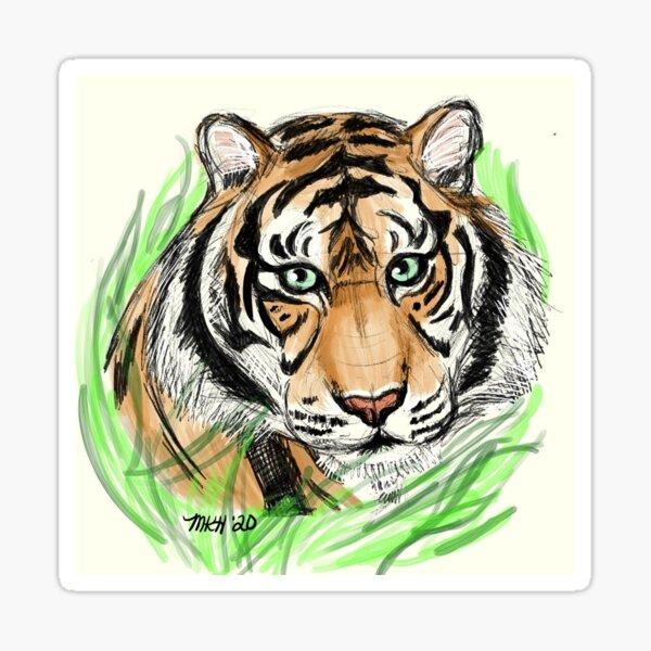 Tiger digital art  Sticker