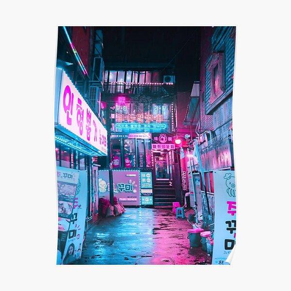 Korean Cyber Punk Landscape Póster