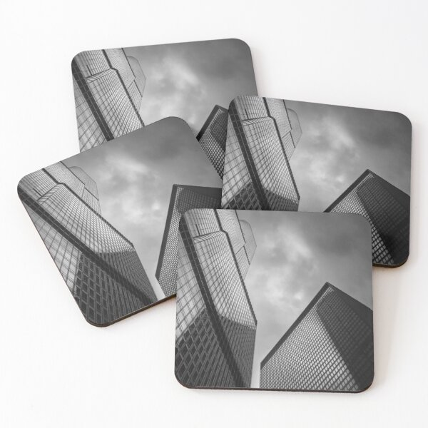 Chicago Skyscraper - Trump Tower in Black and White Coasters (Set of 4)