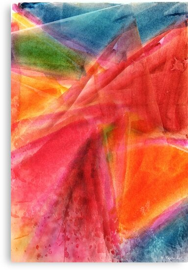 Red in Motion Watercolor Painting by William Martin