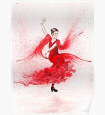 Bailaora de flamenco - Rojo Poster