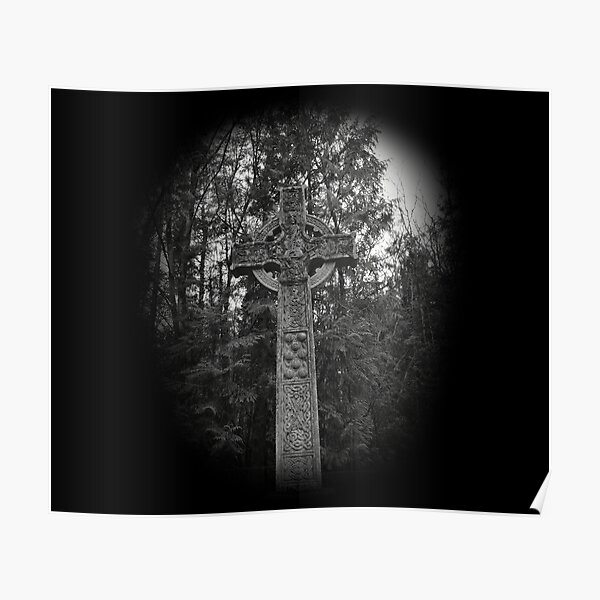 Celtic Cross Grave in The Woods Poster