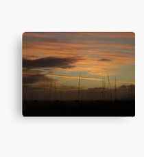 Sunset behind the dunes Canvas Print