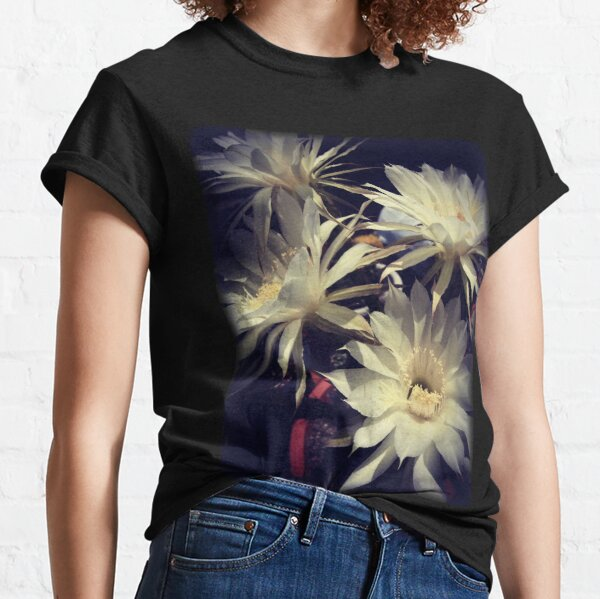 White Cactus Flowers Classic T-Shirt