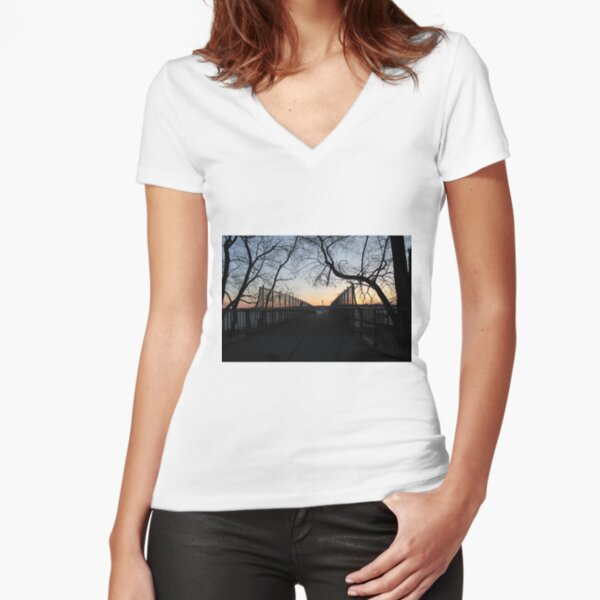 Sunset, also known as sundown, is the daily disappearance of the Sun below the horizon due to Earth's rotation Fitted V-Neck T-Shirt