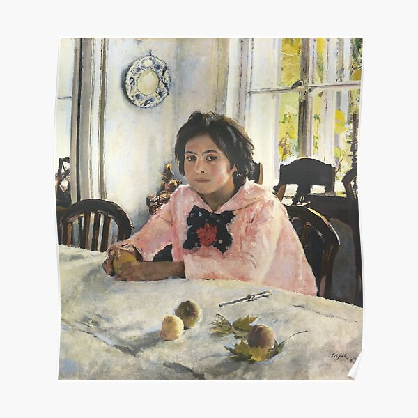 Girl with Peaches, 1887, Valentin Alexandrovich Serov was a Russian painter, and one of the premier portrait artists of his era Poster