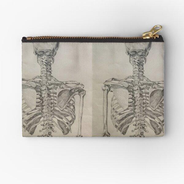 Skeleton Torso Posterior View Zipper Pouch