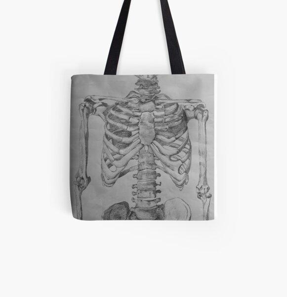 Skeleton Torso: Anterior View All Over Print Tote Bag