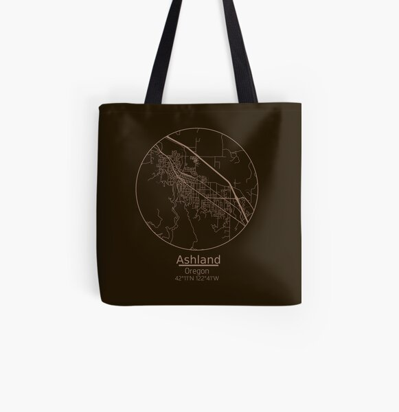 Ashland, Oregon Road Map Art - Earth Tones  All Over Print Tote Bag