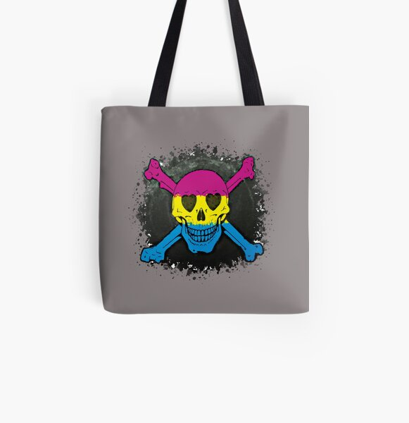 Pansexual Love Skull All Over Print Tote Bag