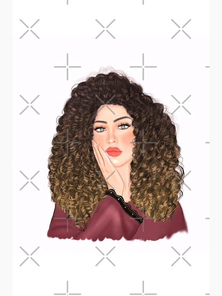 Beautiful Curly Hair Bored Girl Drawing Greeting Card By Imanitasong Redbubble