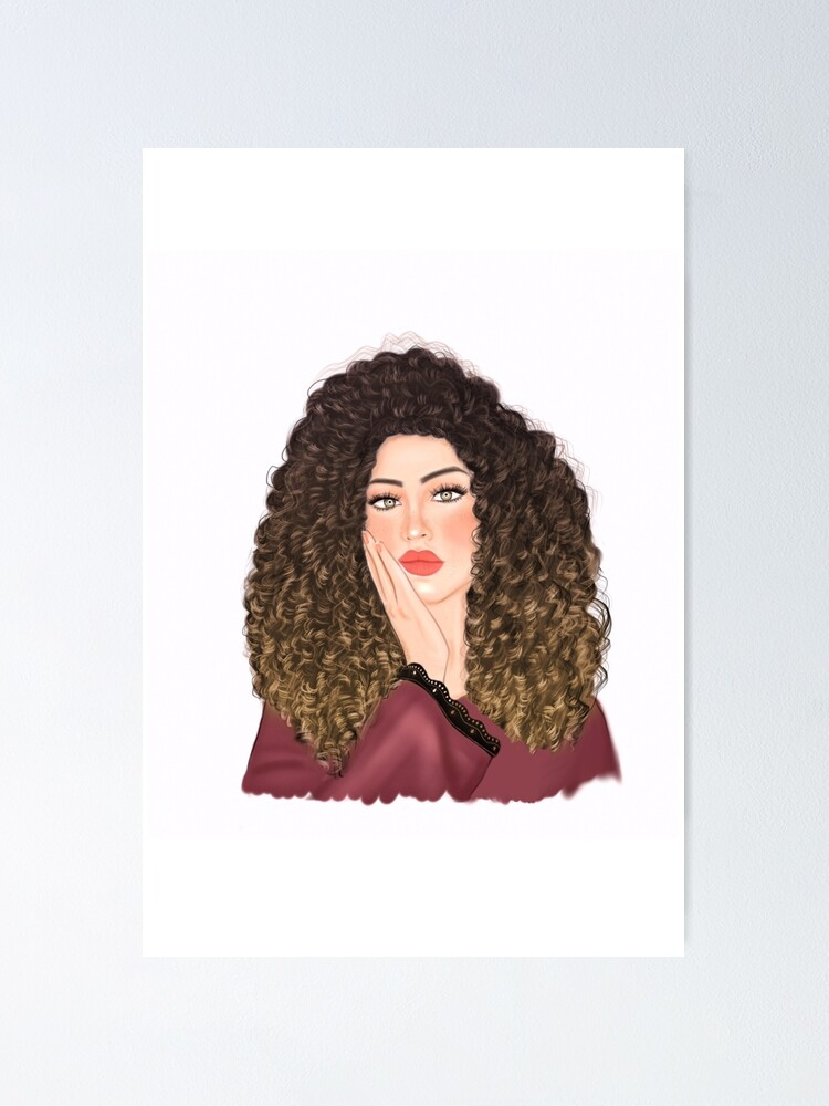 Beautiful Curly Hair Bored Girl Drawing Poster By Imanitasong Redbubble
