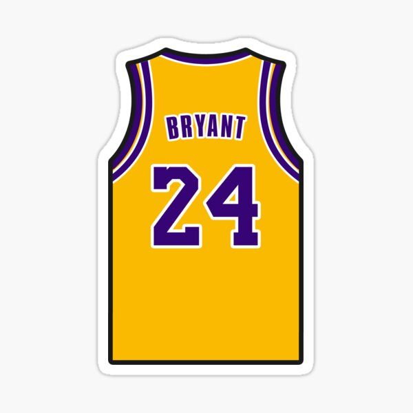 Kobe Bryant Yellow Jersey with 24 Number  Sticker