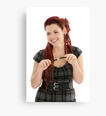 Beautiful smiling woman with pen  Canvas Print