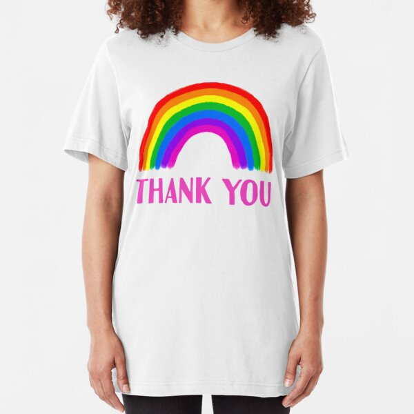 Thank You Rainbow Support   NHS and Keyworkers Slim Fit T-Shirt