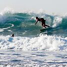 Surfers at Porthtowan Cornwall by Brian Roscorla