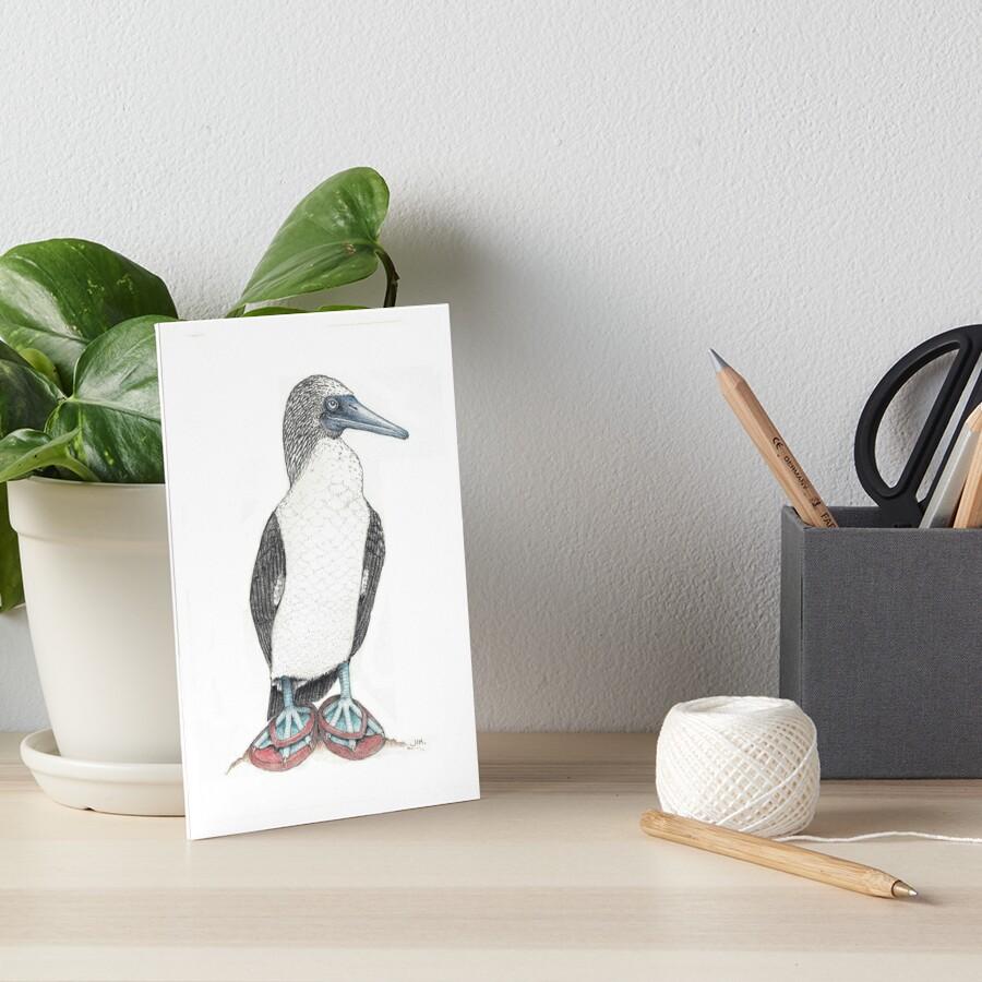 Blue footed booby in flip flops Art Board Print