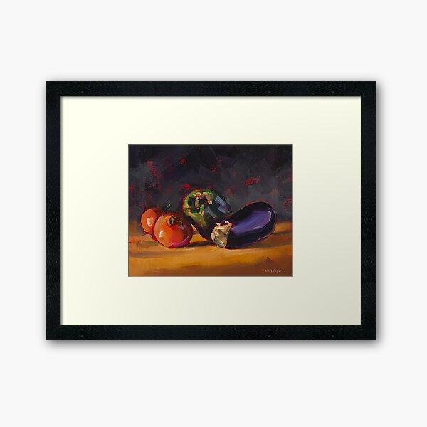Pepper Tomatoes & Eggplant Framed Art Print
