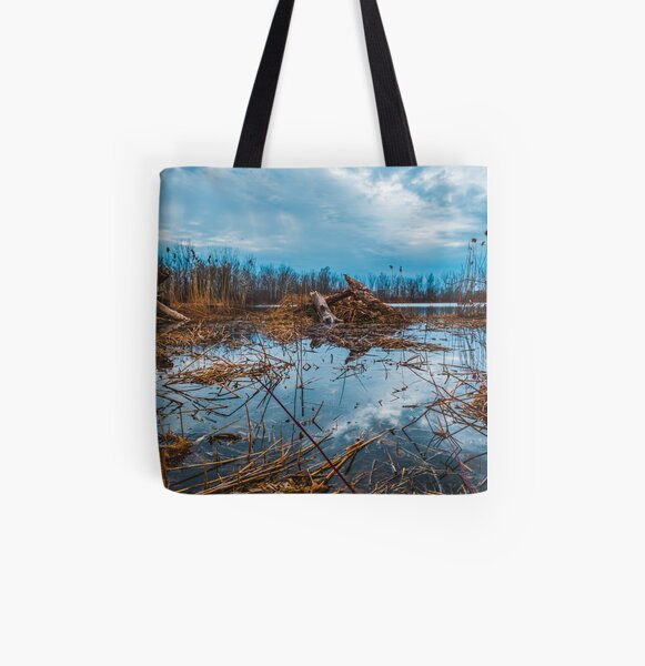 Cloudy Marsh Photograph All Over Print Tote Bag