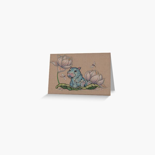 Very Small Lotus Hippo Greeting Card