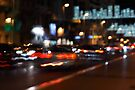 Madrid traffic blur at Christmas by Esther  Moliné