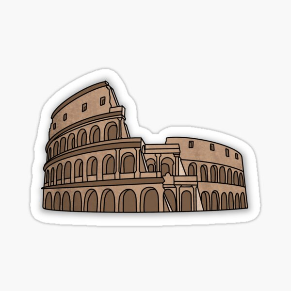 The Colosseum Rome Italy: 7 Wonders of the World Travel Illustrations Sticker